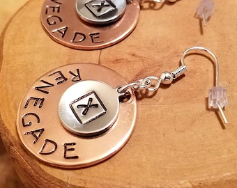 Jeep Renegade X Marks The Spot layered hand stamped and polished copper & aluminum french hook earrings