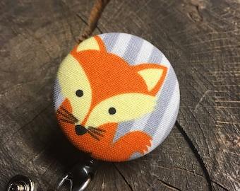 Whimsical badge button holder cute fox design
