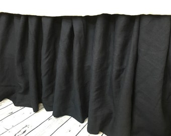 Black Linen Gathered Bed Skirt, Black Linen Dust Ruffle, Available in Twin, Full, Queen, King, Calif. King, 13-24 drop or custom length