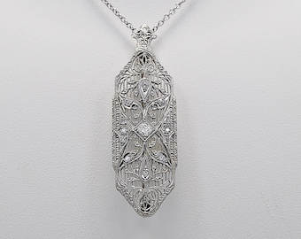 Antique Brooch - Necklace .35ct. T.W. Diamond, Platinum & White Gold Chain - J35889
