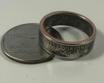Size 4-14 West Virginia Quarter Coin Ring