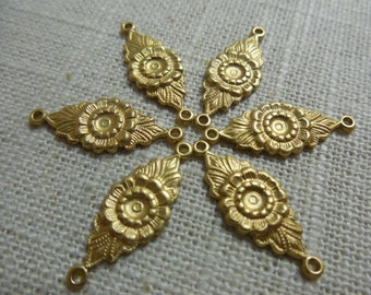 Brass Flower Connector Link Sunflower Floral Stamping Made in USA