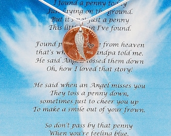 Pennies From Heaven, Penny Necklace, Personalized Penny Necklace, Angel Wing, Memorial Necklace