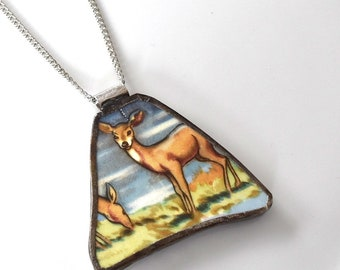 Broken China Jewelry Pendant - Deer