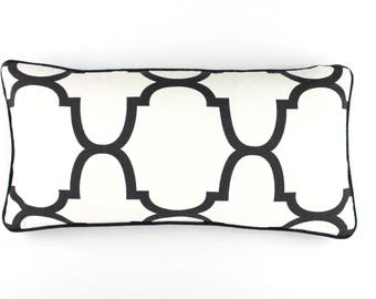 ON SALE Windsor Smith for Kravet RIAD Pillows in Jet with Black Welting (12 X 24)