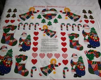 VIP Patchwork Christmas Appliques, santas, angels, vintage fabric,100% cotton