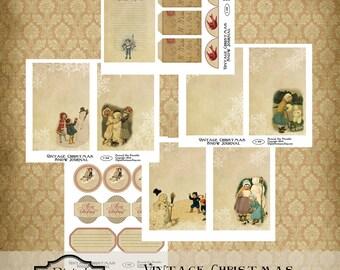 Vintage Christmas Snow Journal Kit Printable Digital Download