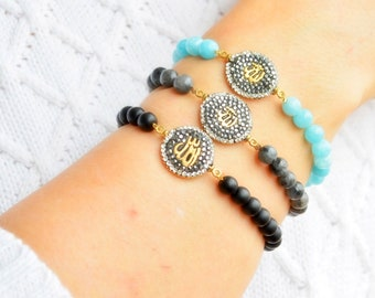 Arabic Gods Name Allah Macrame Bracelet. Gift To Muslim Lady, Eid Gift, Islamic Wedding Present,  New Islamic Fashion Jewelry Models Arabian