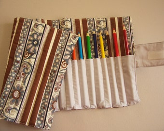 Colored pencil roll, pencil tote, roll up pencil storage, holds 24 pencils, velcro close, pencils not included