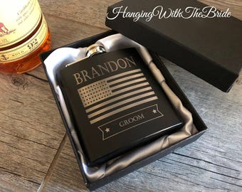 Flask, Personalized Flask, Customize flask, Gift Box, Groomsmen Flask, Gifts for Groomsmen, Monogram Flask, US Flag, Gift for Dad, Best Man