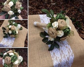 Bridal Bouquet Set,  Burlap Ivory And Forest Green Bridesmaid Bouquets, Bridal Bouquet, Rustic Bridal Bouquet,Wedding Flowers