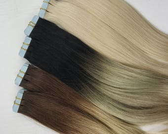 Tape in human hair extensions, natural ombre tape ins, black to blonde tape ins, brown to blonde ombre, natural ombre tape in hair extension
