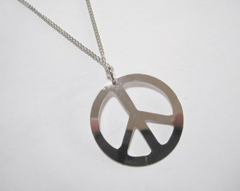 "Silver Peace Sign Necklace on 18"" Chain  1.5 inch  Peace Symbol Pendant"