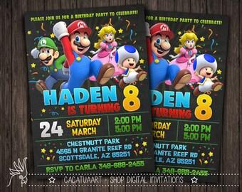 Personalized Invitation Super Mario, Mario Invitation, Super Mario Birthday Party Invitation, Mario Bros Invitation, Luigi, Yoshi, Mario