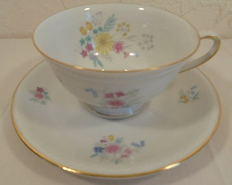 Vintage Winterling White with Floral Spring Bouquets Tea Cup and Saucer Set Made in Germany #39 Trimmed in Gold Bavaria Garden Party Dishes