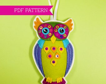 Orville the Owl Felt Ornament Pattern PDF