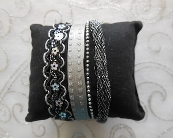 fabric and faux leather Cuff Bracelet