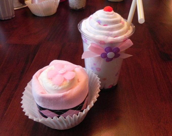 Receiving Blanket Milkshake and Diaper & Bodysuit Cupcake Combo