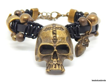 Rock bracelet, biker, punk, steampunk, leather, beads