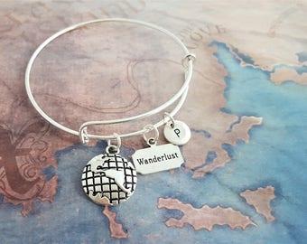 Earth Bangle, Wanderlust Jewelry, Travel Jewelry, Globe Bangle, Traveller Bracelet, Adjustable Bangle, Expandable Bangle, Travel Gift
