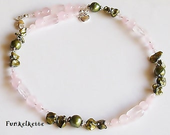 Chain chain pink flower green necklace pink Pearls Pearl Keshiperlen Soft Stylish
