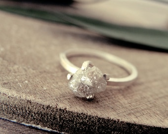 White grey diamond ring, raw diamond ring, promise ring, engagement ring, raw diamond ring, rough diamond, natural diamond, uncut diamond