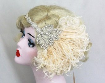 Bridal Head Piece - 1920's Flapper - Great Gatsby Wedding Headpiece - Ivory Feather Fascinator - Crystal Headband - Silver Hair Accessory