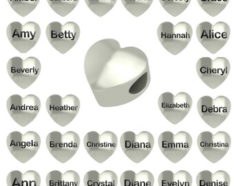 Personalized Charm - Any Name or Date. High Quality Sterling Silver Personalized Bead Charm Fits Bead Style Charm Bracelets