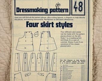 Skirts, Seamstress Dressmaking Pattern 48 Phoebus, 1975 Uncut, Size 8 10 12 14 16 18 20