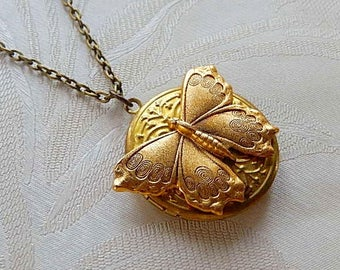 Locket, Butterfly Locket, Necklace, Gift for Her