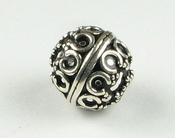 Bali 12mm Bead Double Crown with Granulation Design Sterling Silver Bead Antiqued (1 bead)