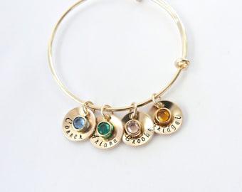 Mother's Day Gold Personalized Bangle, Grandma Gift, Gift for Mom, Gift from Husband, Birthstone Jewelry, mom Gift, Nana gift,Grandma