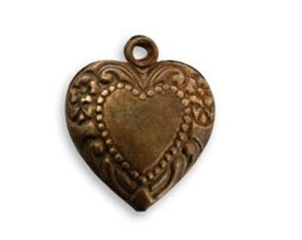 Vintaj Brass Cherished Heart Pendant, Heart Charm, Brass, Etched Heart Charm