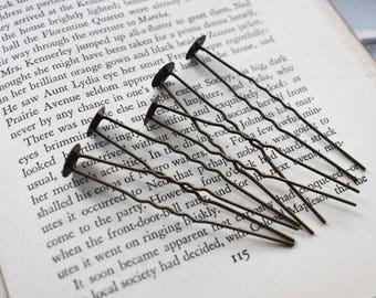 Antique Brass Tone Hair Pins - Glue On Hair Stick Supply- Antique Brass Hair Sticks- Make Your Own Hair Accessory- Set of 5