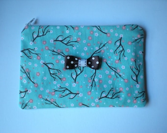 Makeup/cosmetic/pencil case pouch aqua floral print with contrasting lining and bow READY TO SHIP