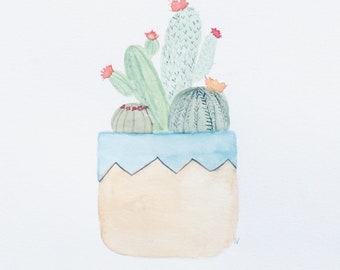 Potted Cacti Digital Painting