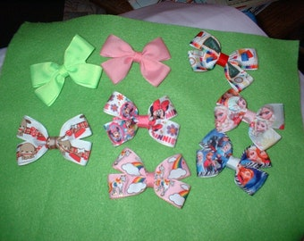 3  inch Dbl   Hair Bows on Hairclips  501  total of 8