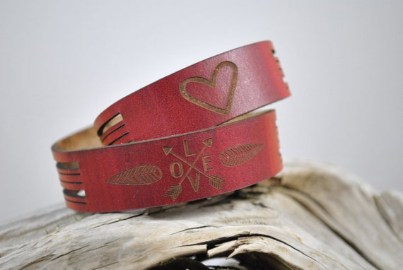 DOUBLE WRAP Leather Cuff, Unique gift, love graphics, valentine's day gift