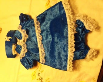 Velvet dress, bloomers, and head band for Bitty Baby sized doll