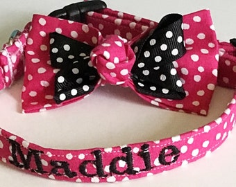 Hot Pink Polka Dot Collar with Ribbon Bow tie and Includes Personalization Option