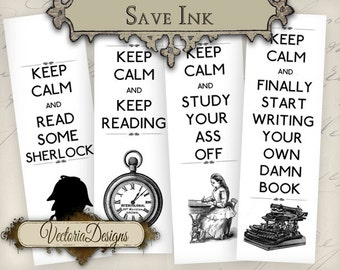 Keep Calm Bookmarks instant download printable digital collage sheet VD0738