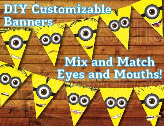 Printable minion birthday decoration minion party bunting for Decoration minion