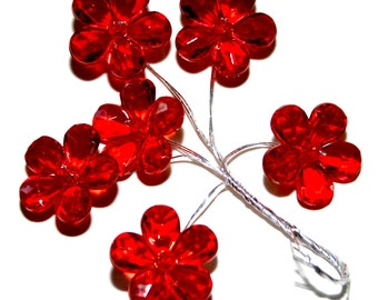 6 Red Acrylic Flowers on Wired Stems