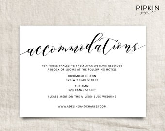 Wedding Accommodations Template | Printable Accommodations Card | Printable Wedding | Wedding Information | Enclosure Card | Insert Card