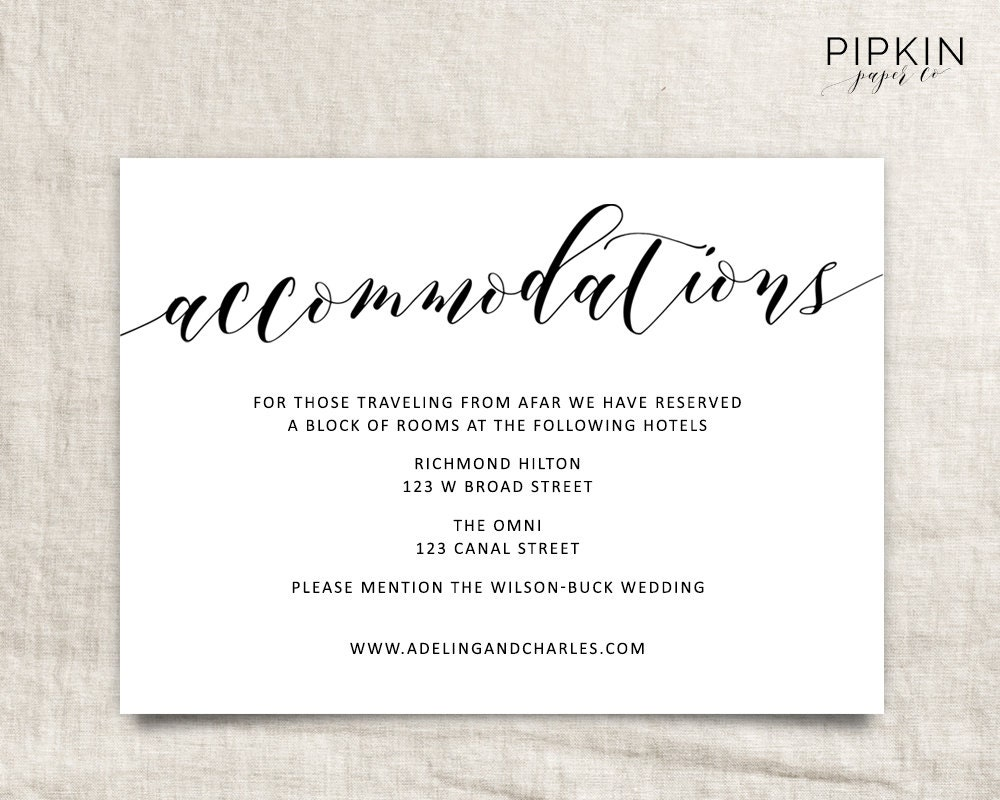 Wedding Registry Card Examples: Wedding Accommodations Template Printable Accommodations