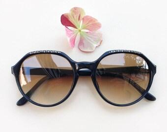 59f03f0619 70s rhinestones sunglasses   Vintage deadstock black sunglasses   french  frames   rare jeweled Eyewear