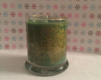 9 oz green / gold sparkles Bayberry candle