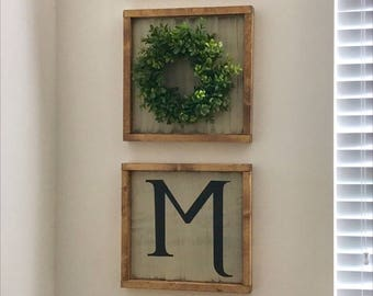 Personalized Sign,  Initial Sign, Gallery Wall, Framed Sign, A-Z Sign, Letter Sign, Alphabet Sign
