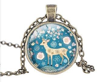 Deer glass cabochon necklace