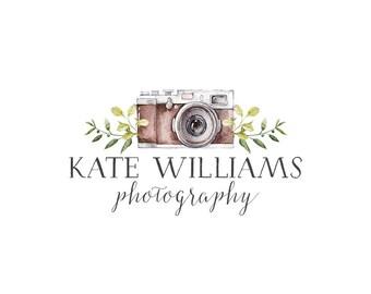 Photography Logo and watermark, Premade Logo Design, Watercolor camera Logo  214
